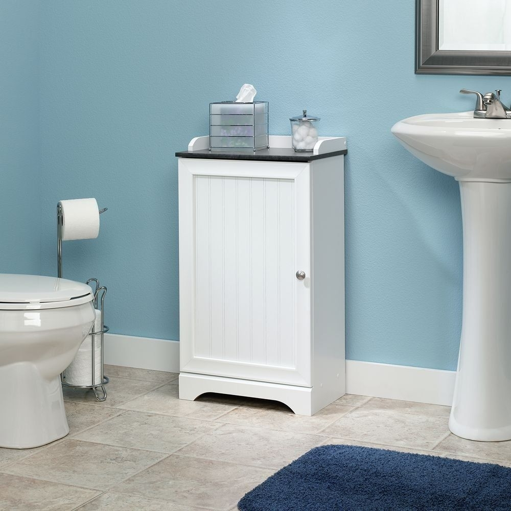 White Floor Standing Bathroom Mid Storage Cabinet Unit