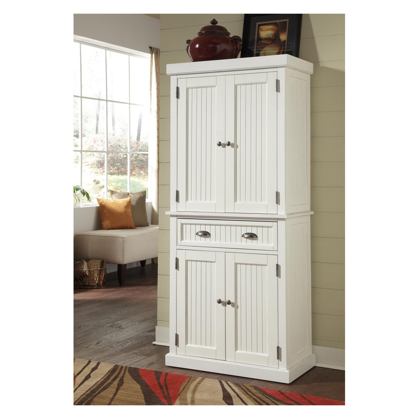 Nantucket White Distressed Finish Pantry Storage Kitchen Cabinet
