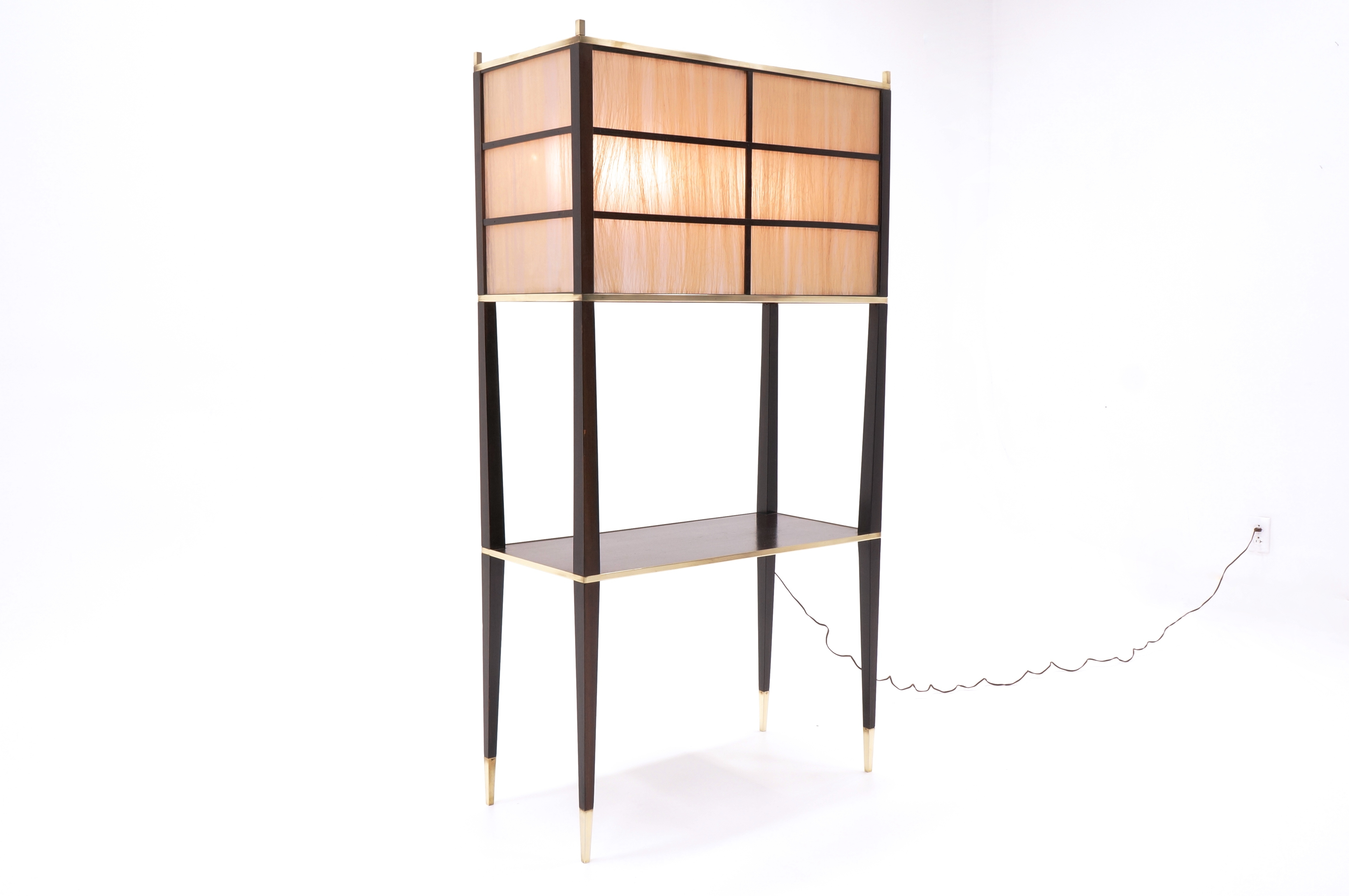Wood Tower Torchiere Floor Lamp