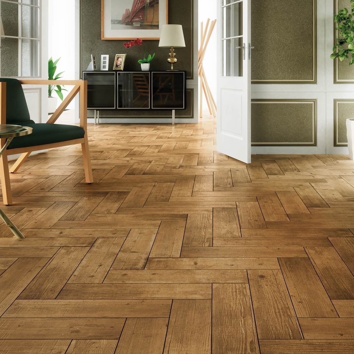 Herringbone Wood Effect Floor Tilesarteak castano wood effect tiles porcelain superstore