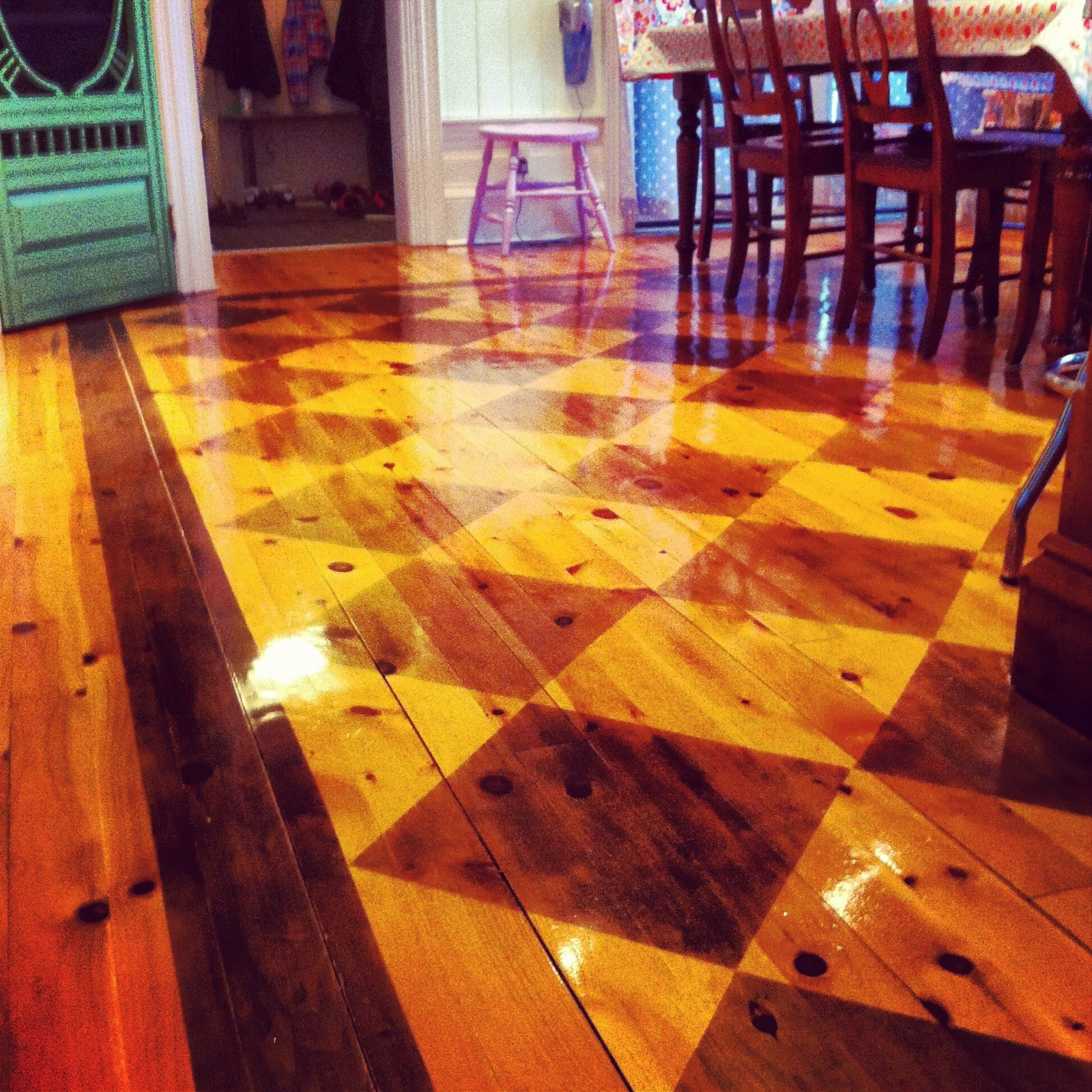 Stained Checkerboard Wood Floor