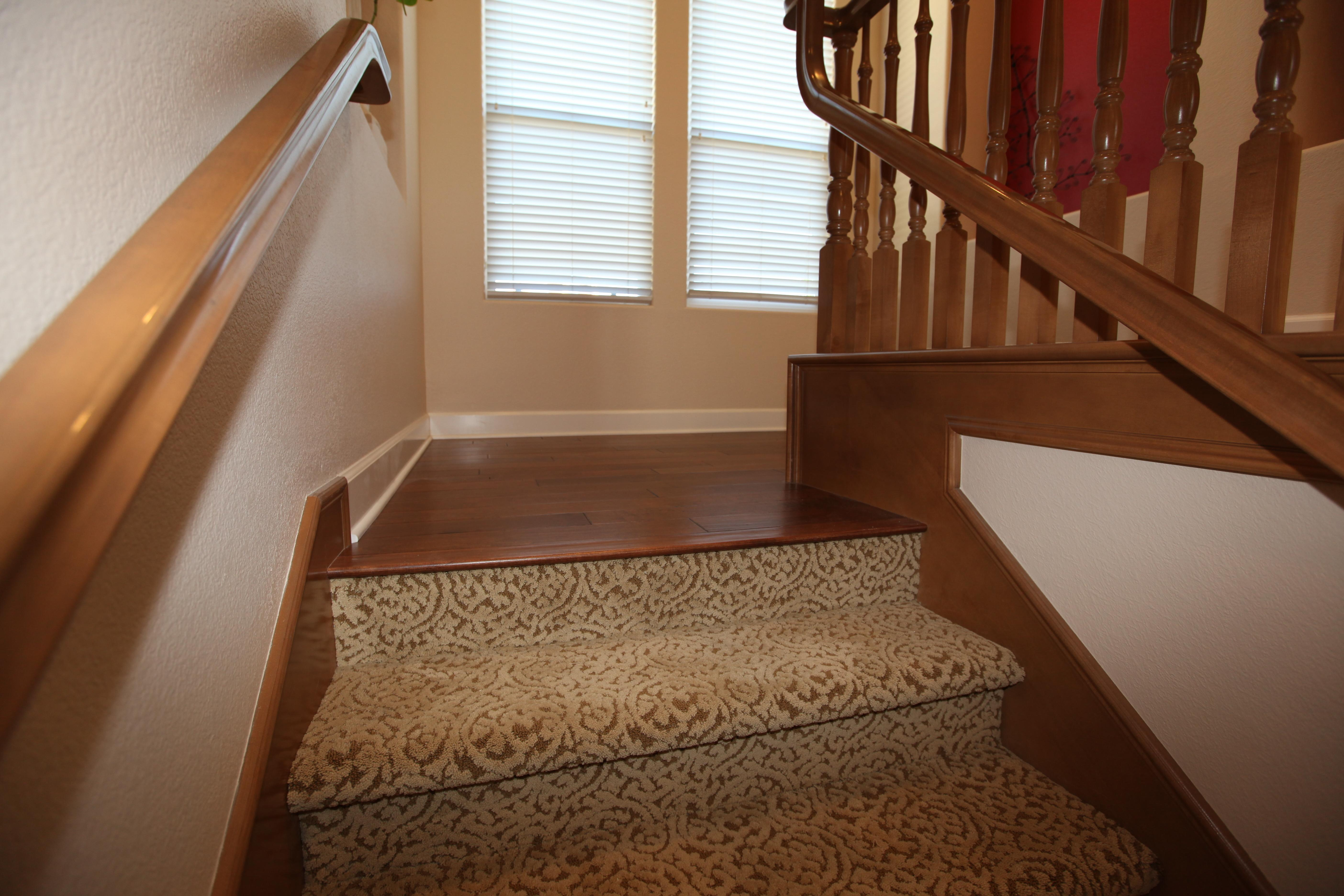 Wood Floor Carpet Stairs Transition