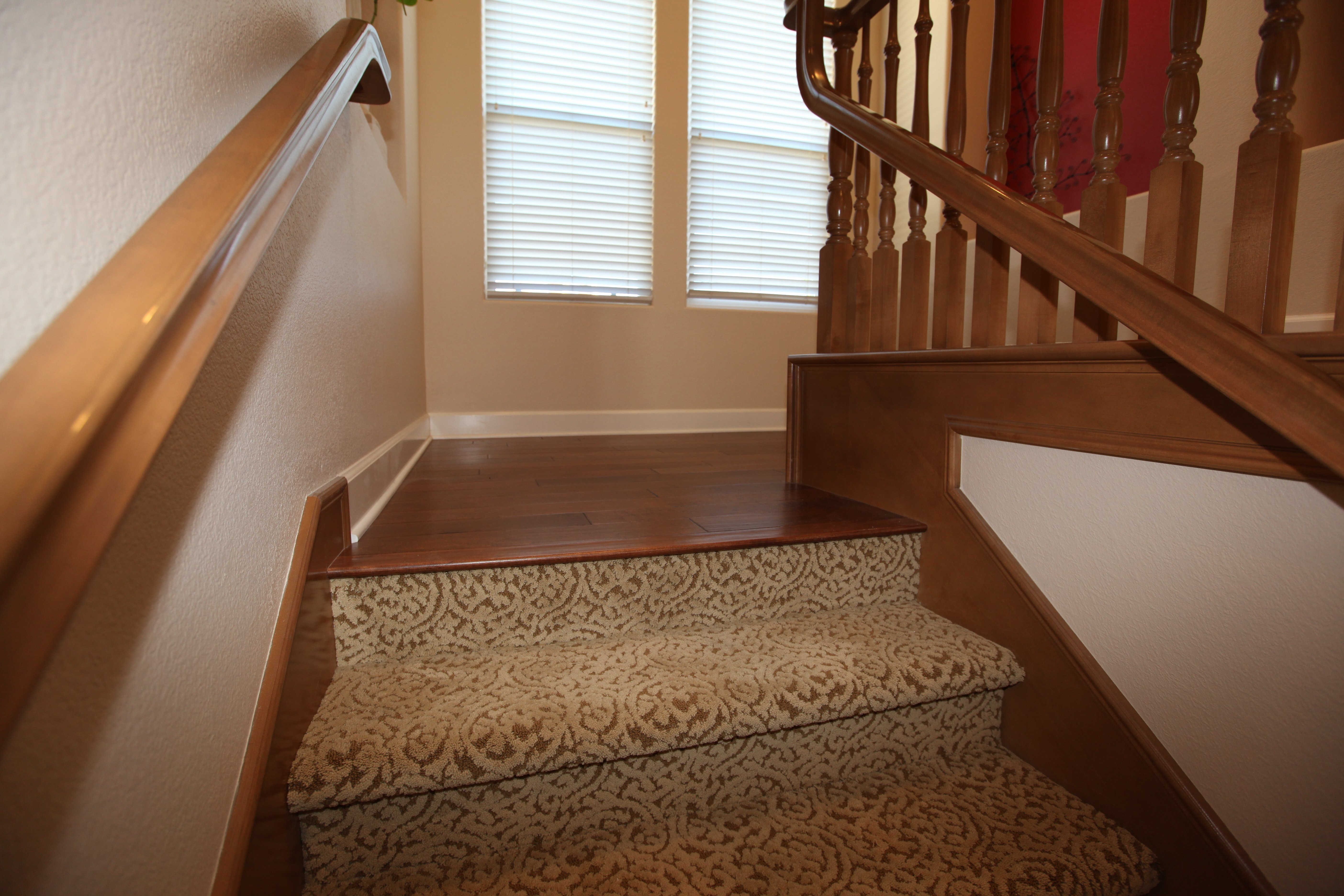 Wood Floor Meets Carpet Stairs