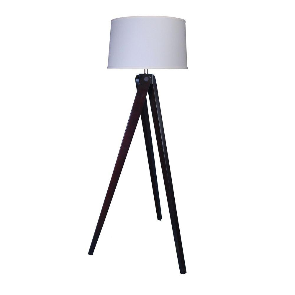 Espresso Wood Floor Lamp