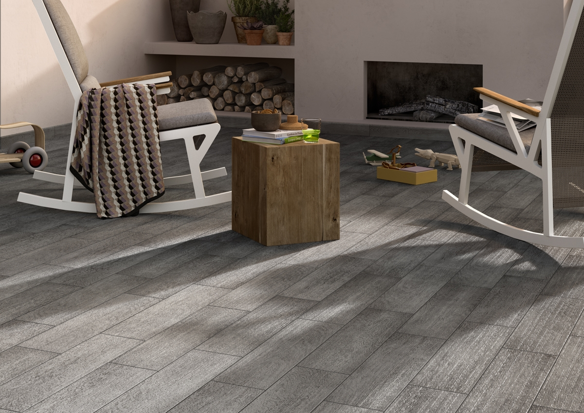 Grey Wood Effect Ceramic Floor Tiles