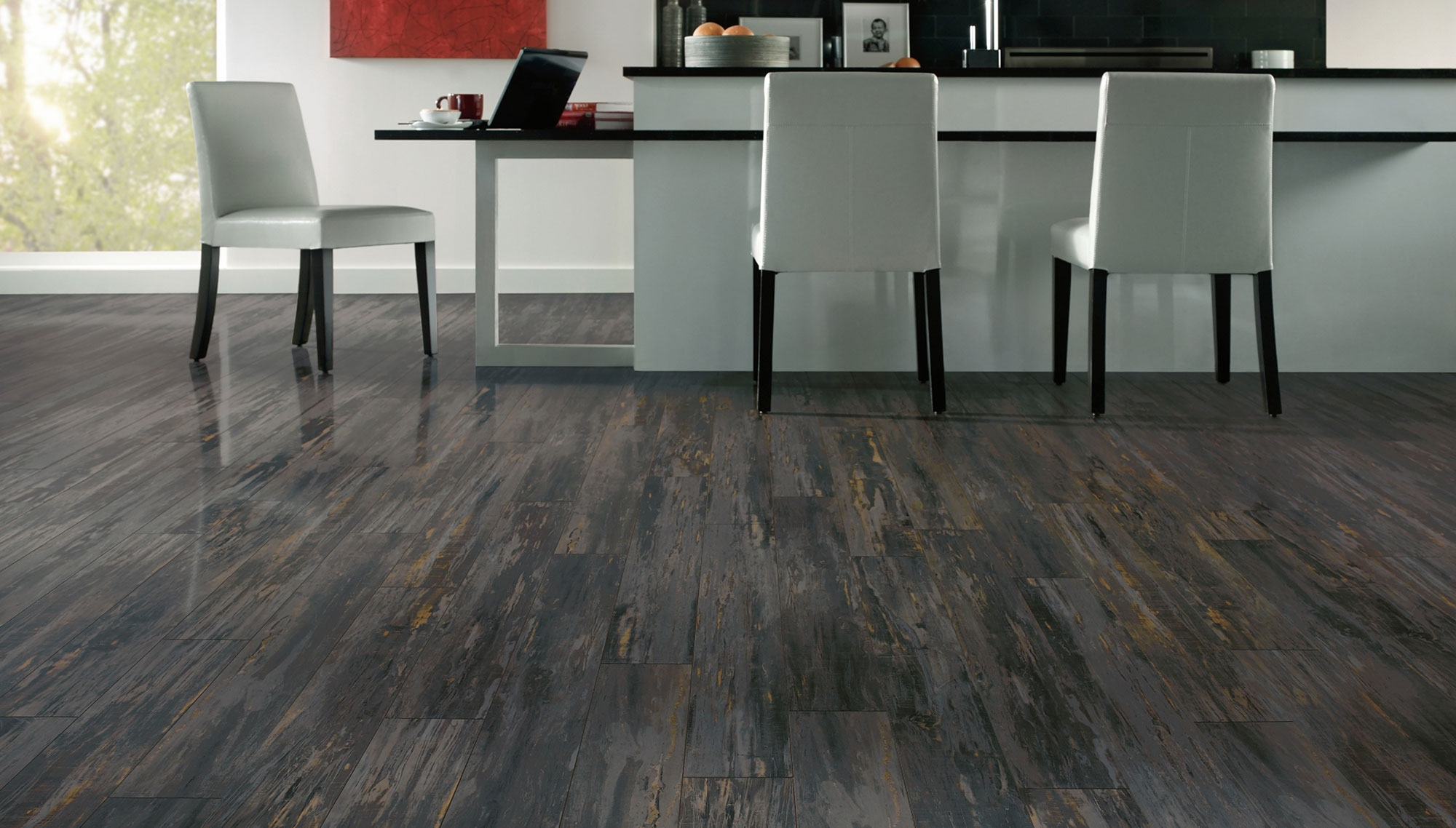 Black And Gray Wood Flooring