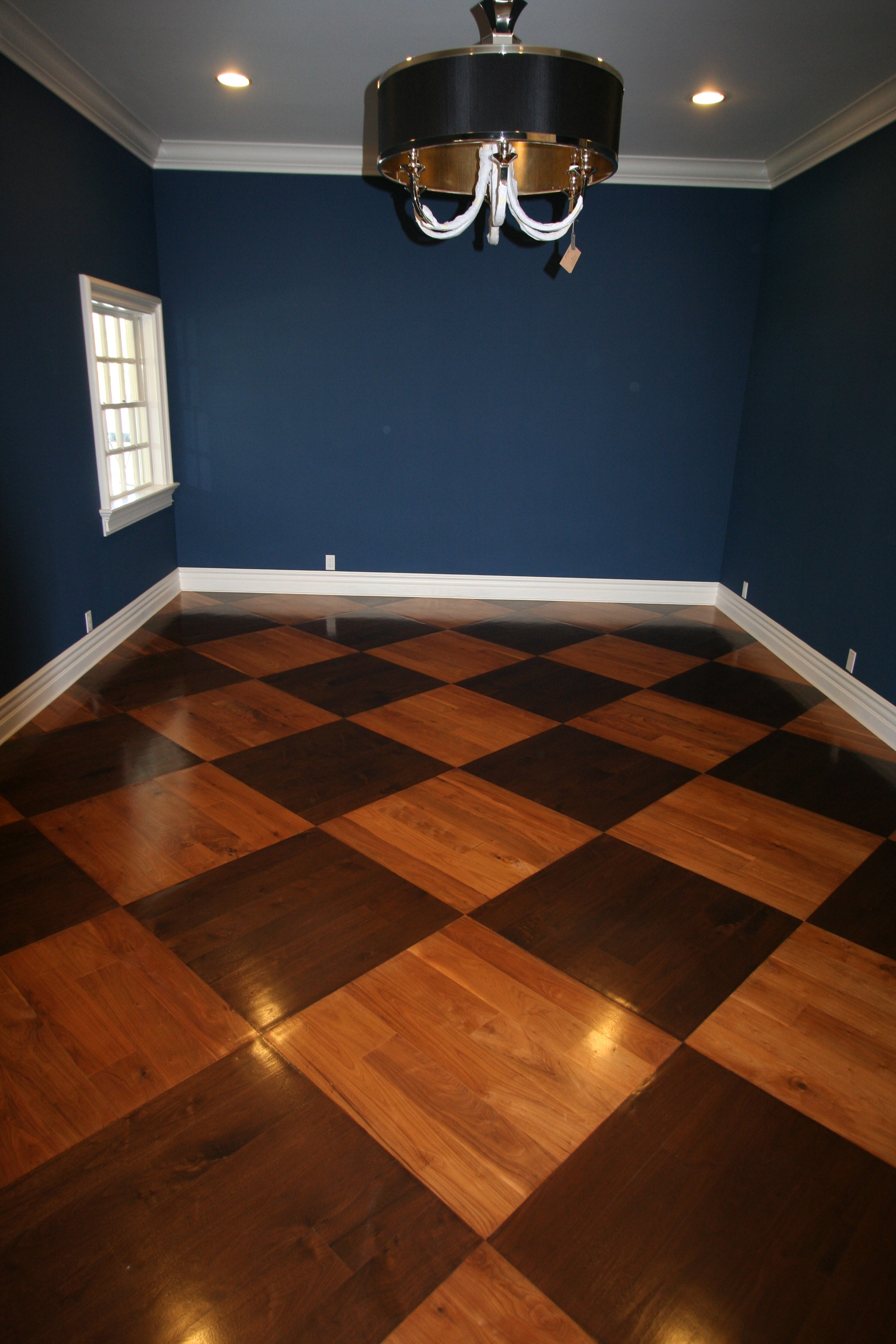 Black And White Checkered Wood Floor