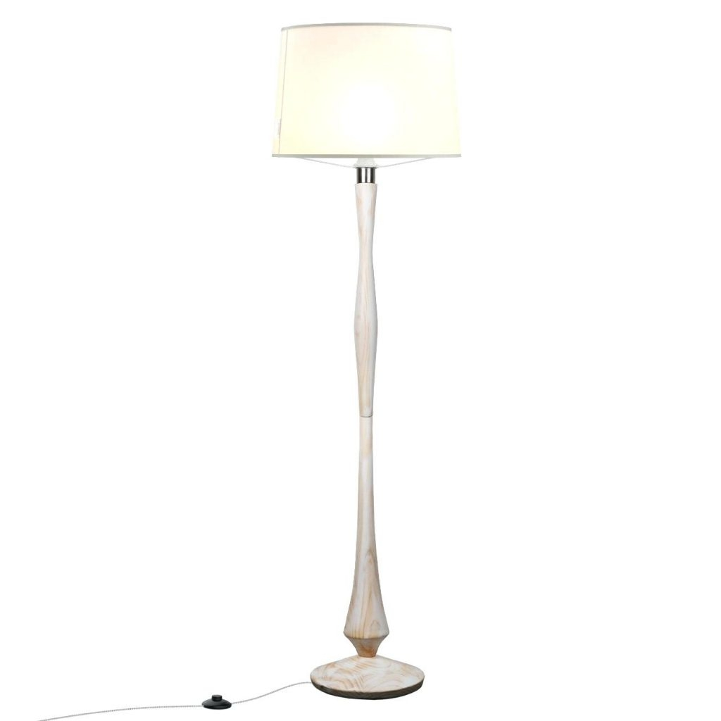 White Washed Wood Floor Lamp