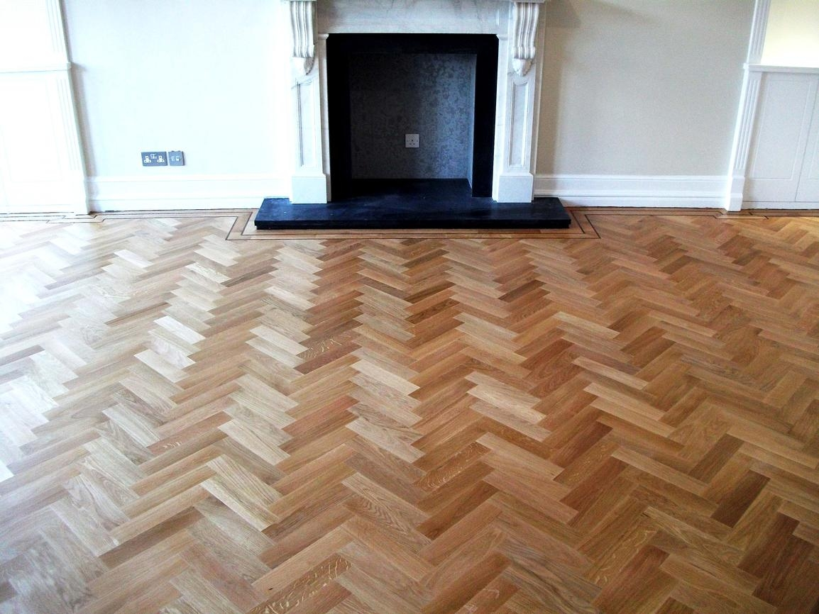 Laying Herringbone Pattern Wood Floor