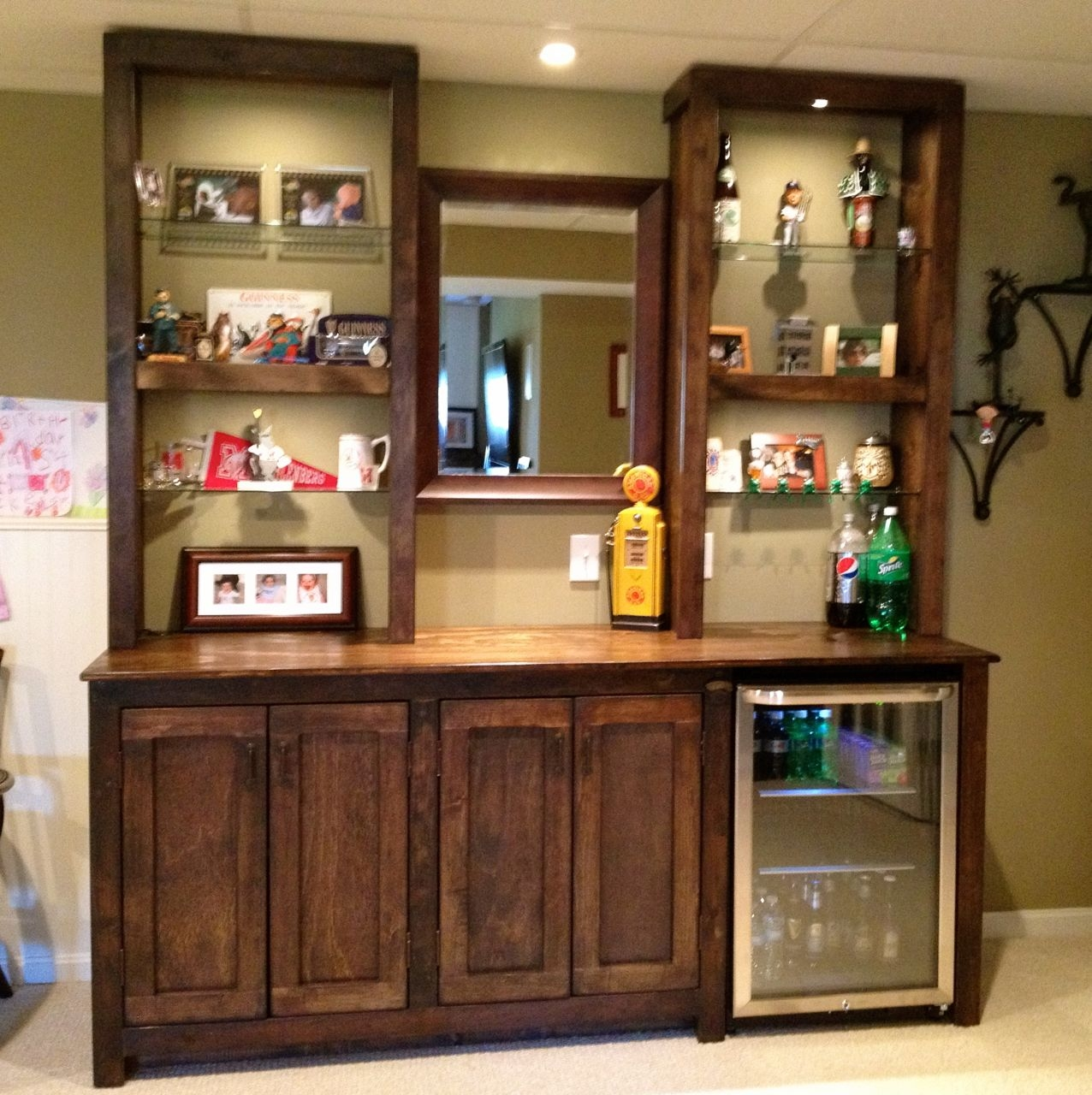 Basement Bar Glass Shelves
