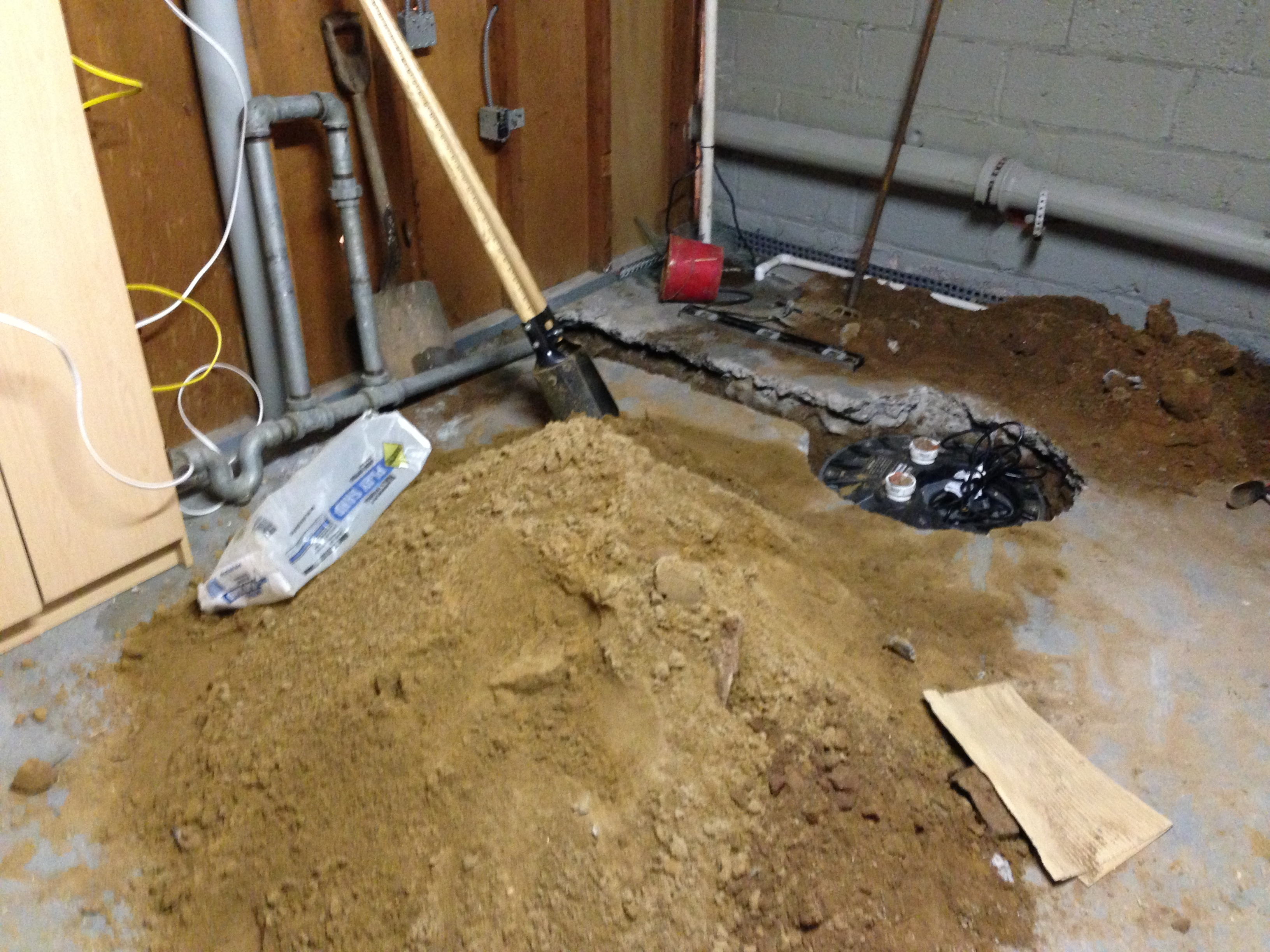 Basement Bathroom Ejector Pump Floor