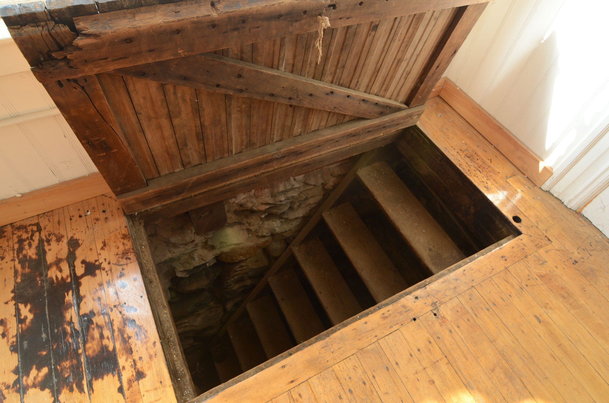 Basement Trap Door Openerhis dad was moving into an office when they discovered a secret