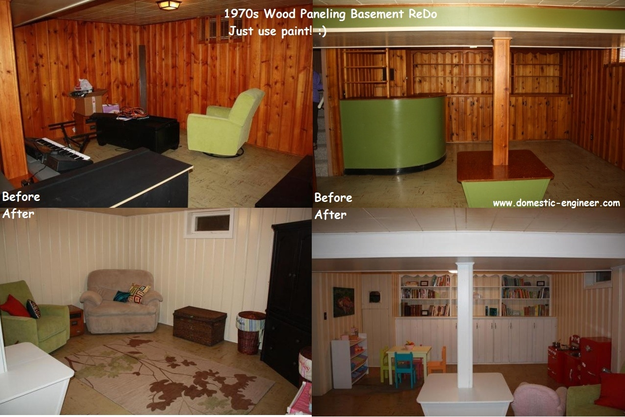 Basement Wood Paneling Before And After