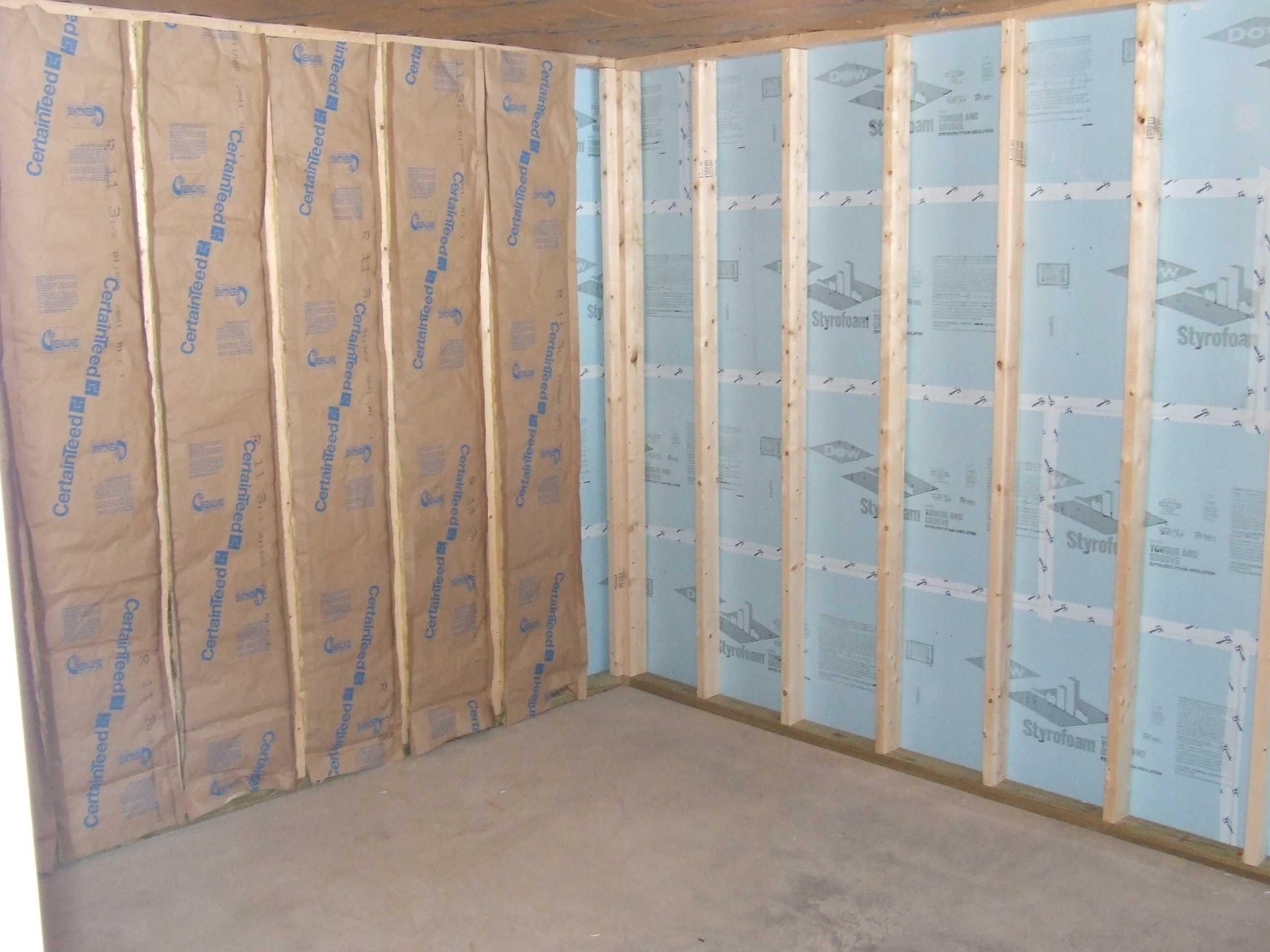 Foam Board Against Basement Wall