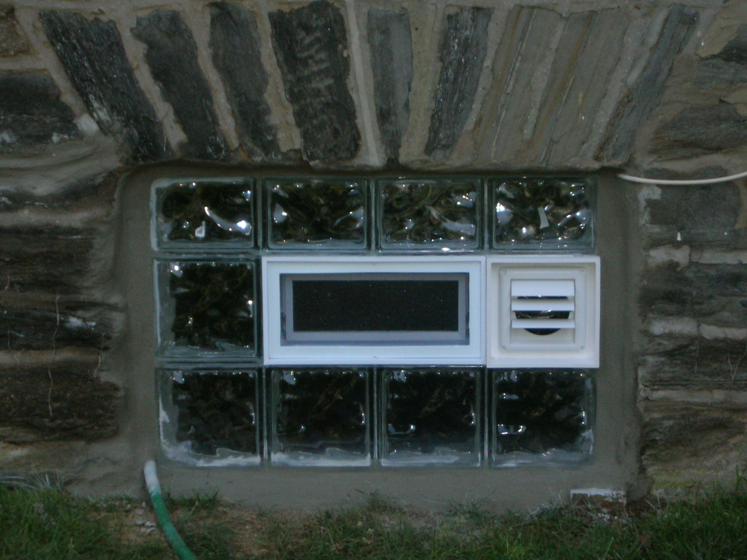 Glass Block Basement Windows With Dryer Vent