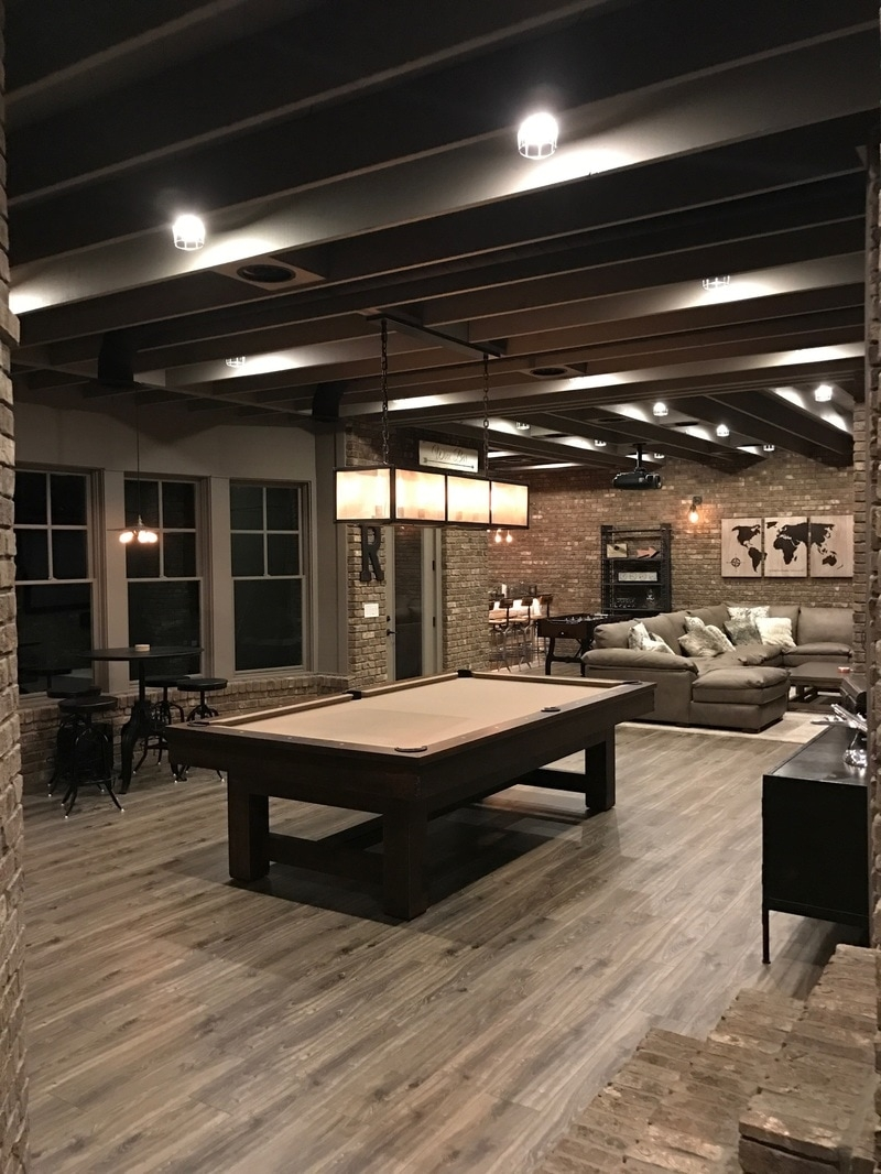 Industrial Looking Finished Basement