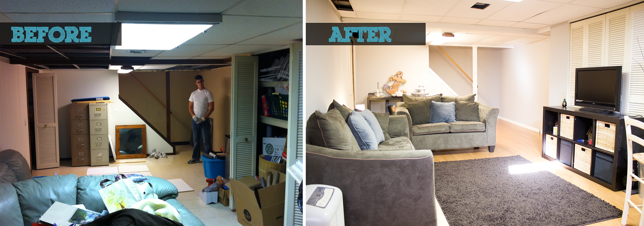 Small Finished Basement Before And After