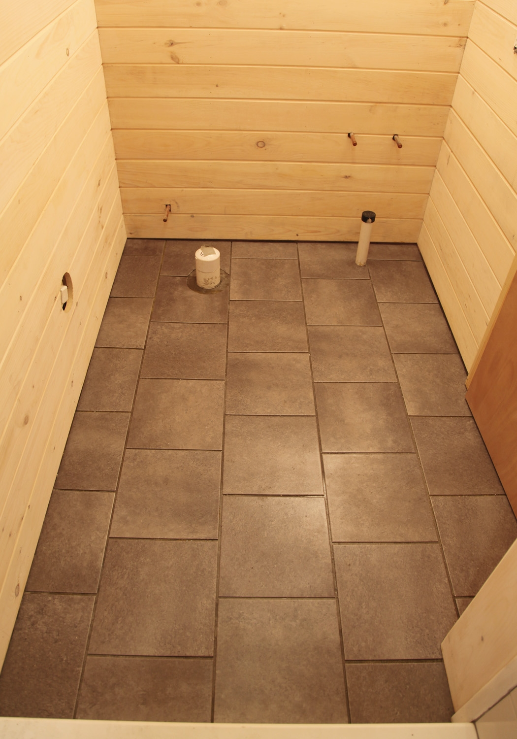 Vinyl Tiles Basement Bathroom