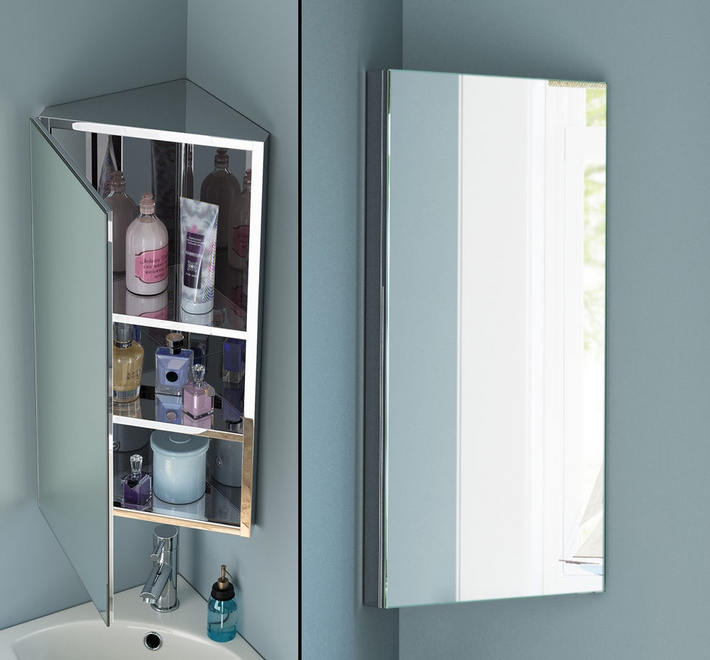 900mm Stainless Steel Mirrored Bathroom Corner Cabinet