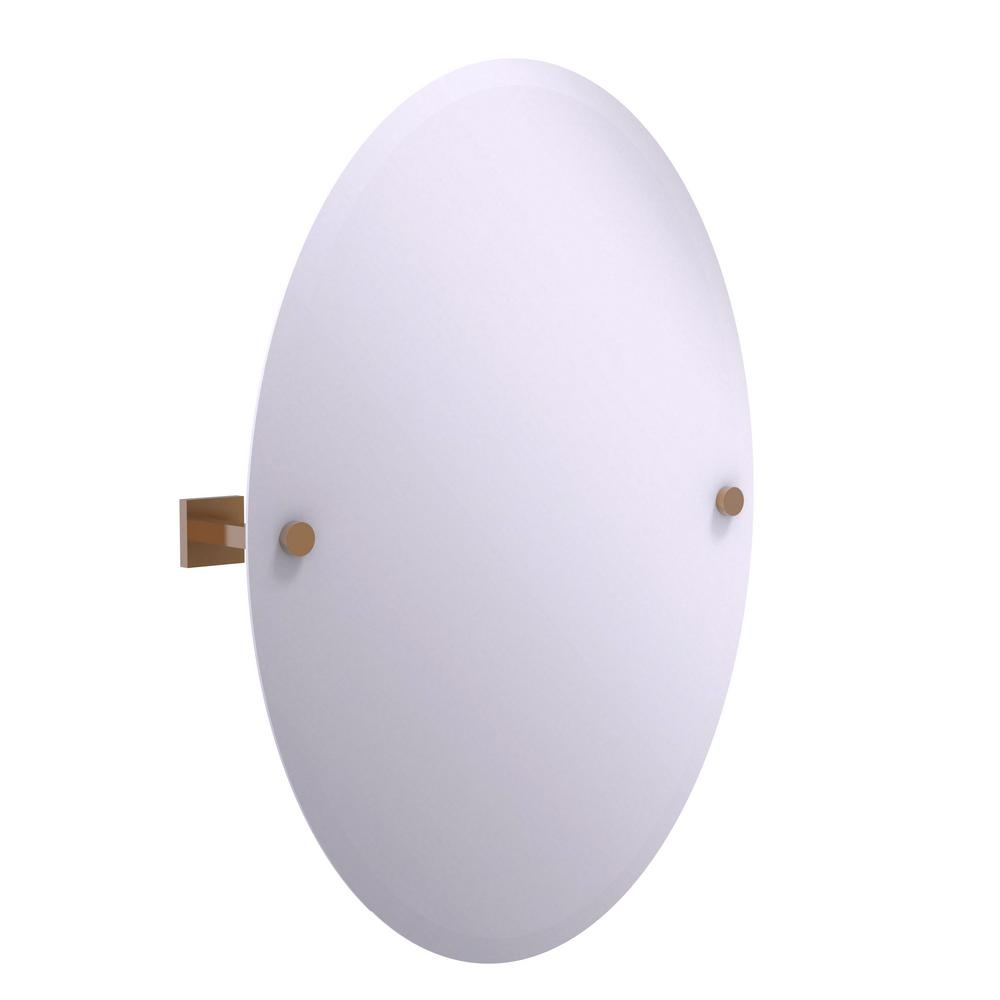 Permalink to Allied Brass Oval Tilt Frameless Beveled Bathroom Mirror