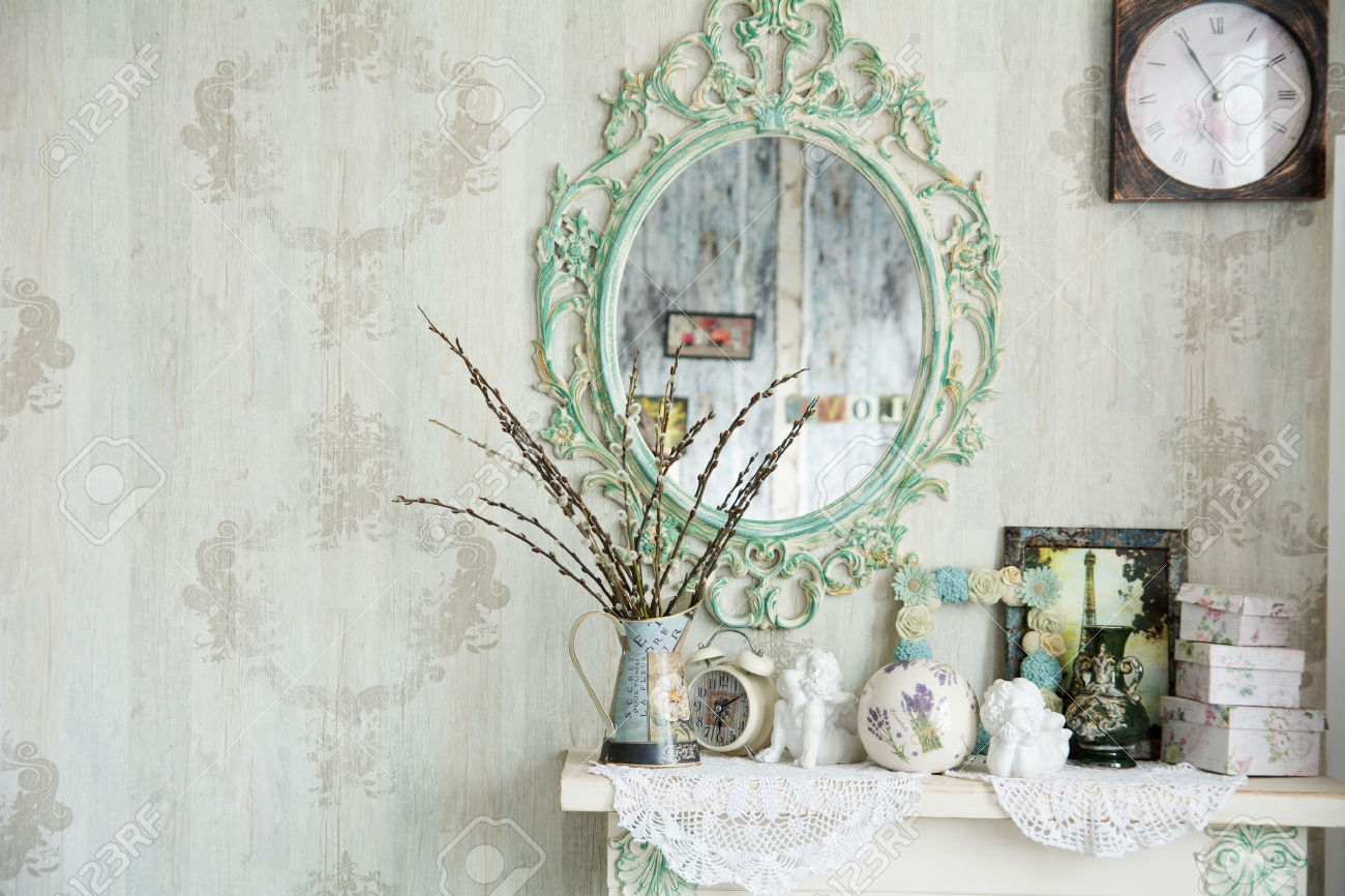 Antique Mirror Wall Vase