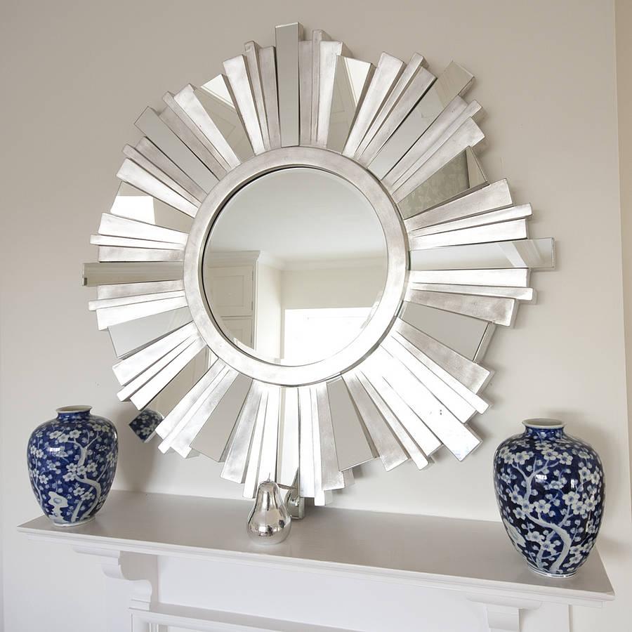 Antique Silver Sunburst Wall Mirror