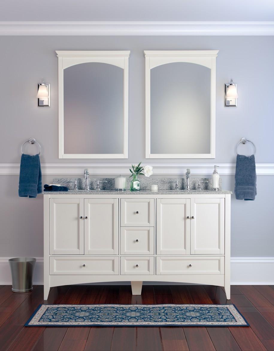 Antique White Framed Bathroom Mirror