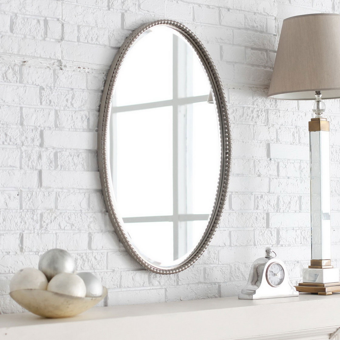 Antique White Oval Wall Mirror