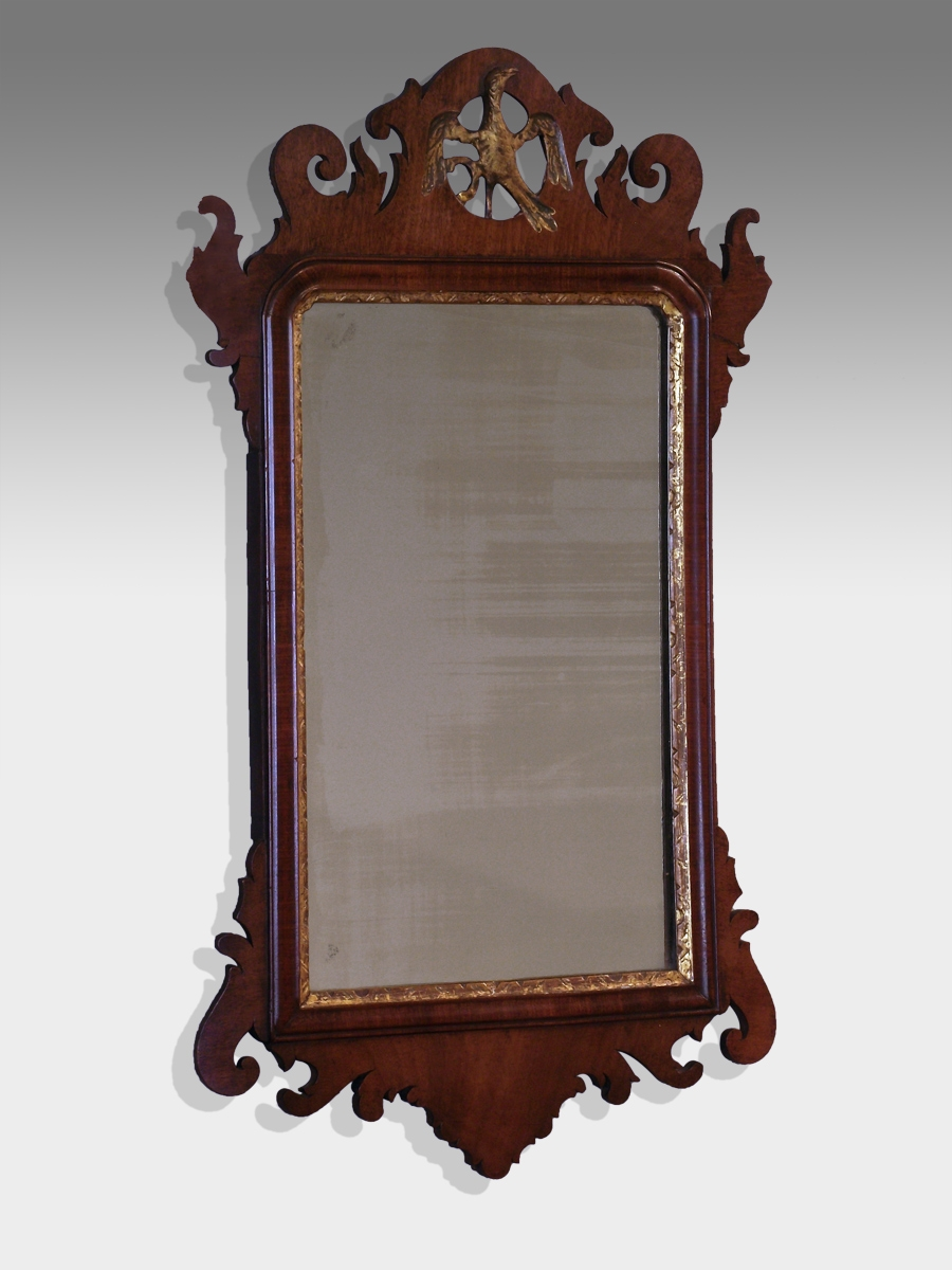 Antique Wood Framed Wall Mirror