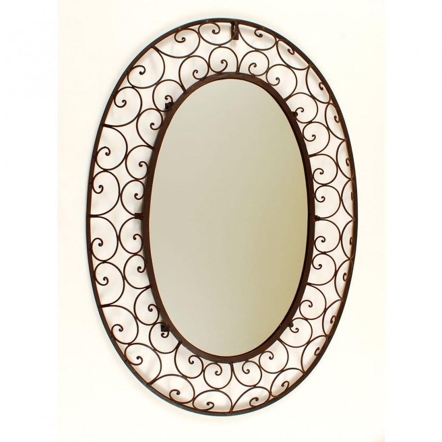 Ashton Sutton Fluent Round Metal Wall Mirror