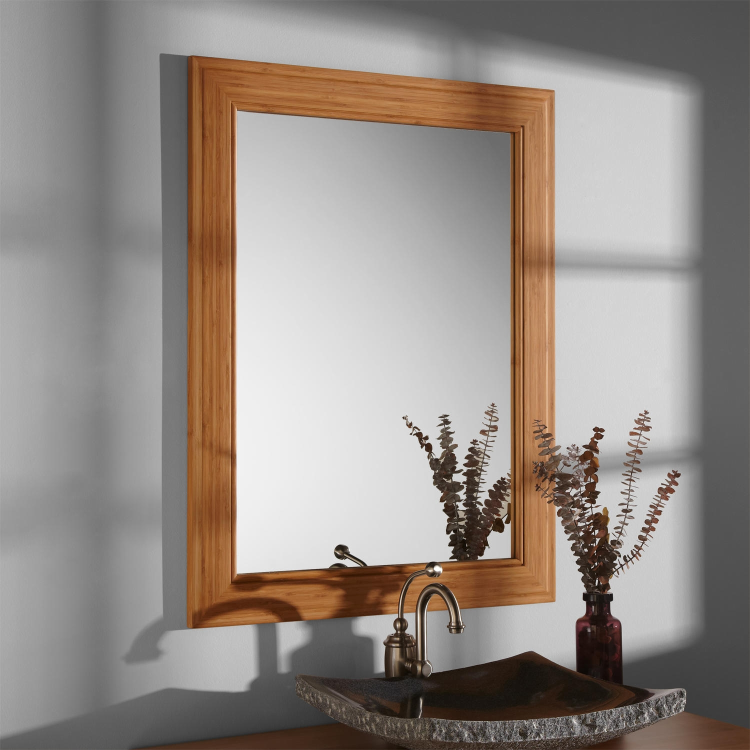 Bamboo Framed Bathroom Mirror