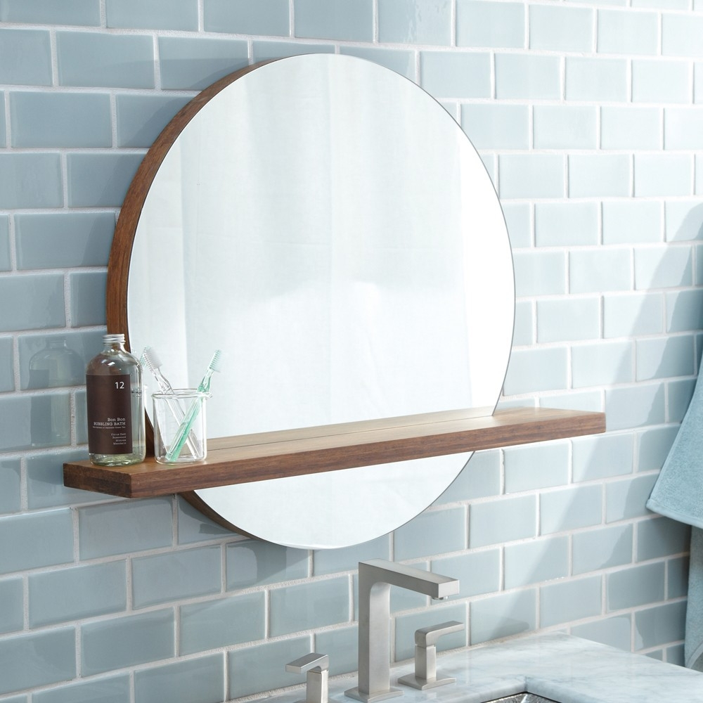 Bamboo Wall Mirror With Shelf
