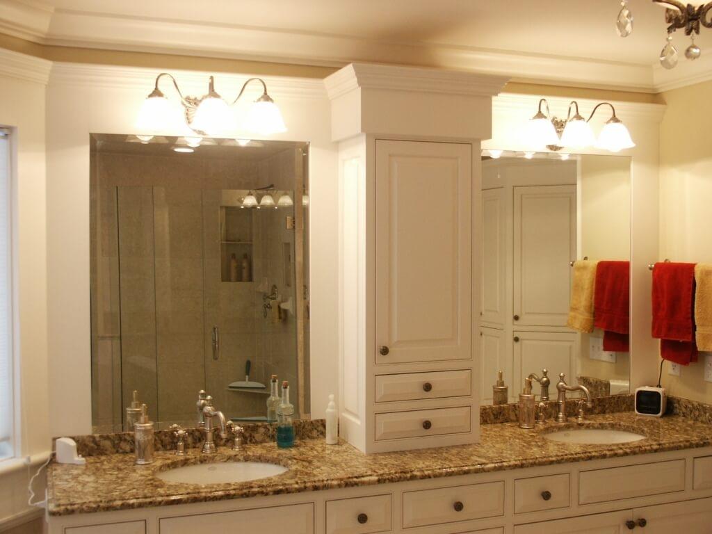 Bathroom Mirror Cabinet Light And Two Slimline Hinged Doors