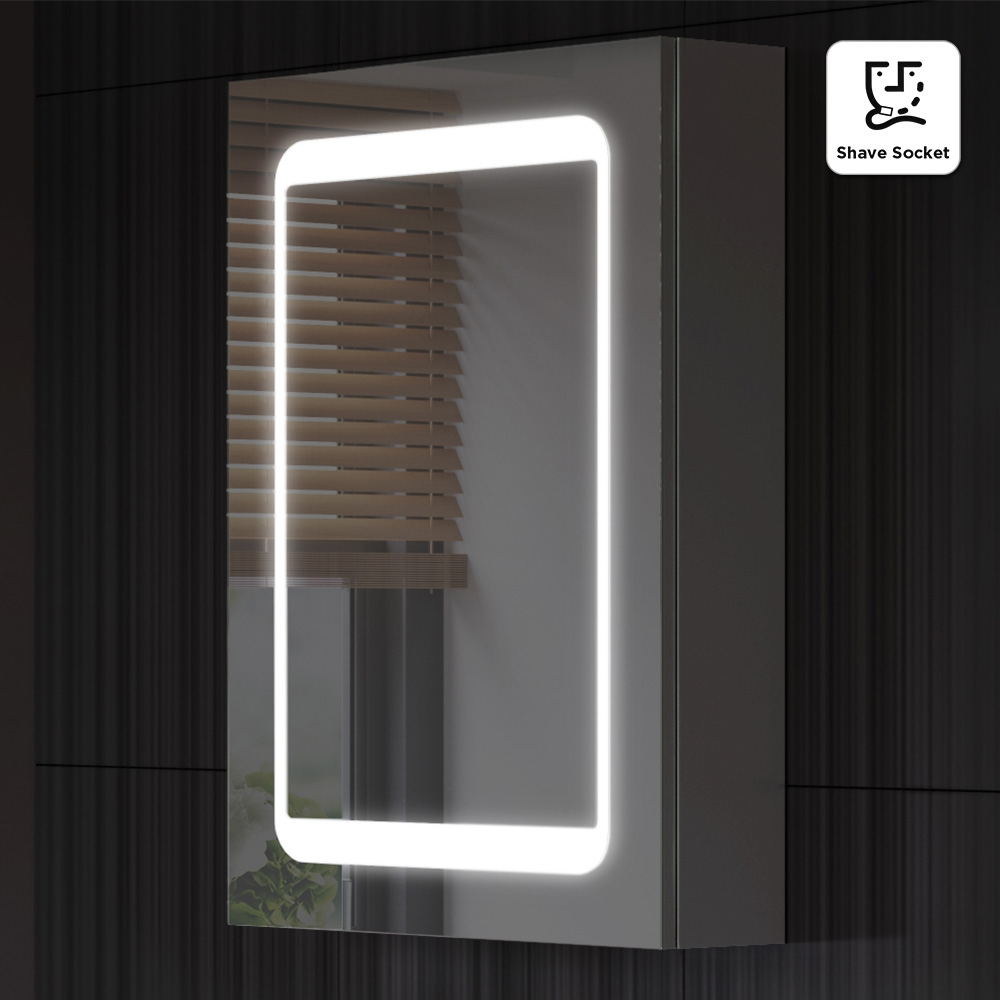 Permalink to Bathroom Mirror Cabinets With Light And Shaver Point