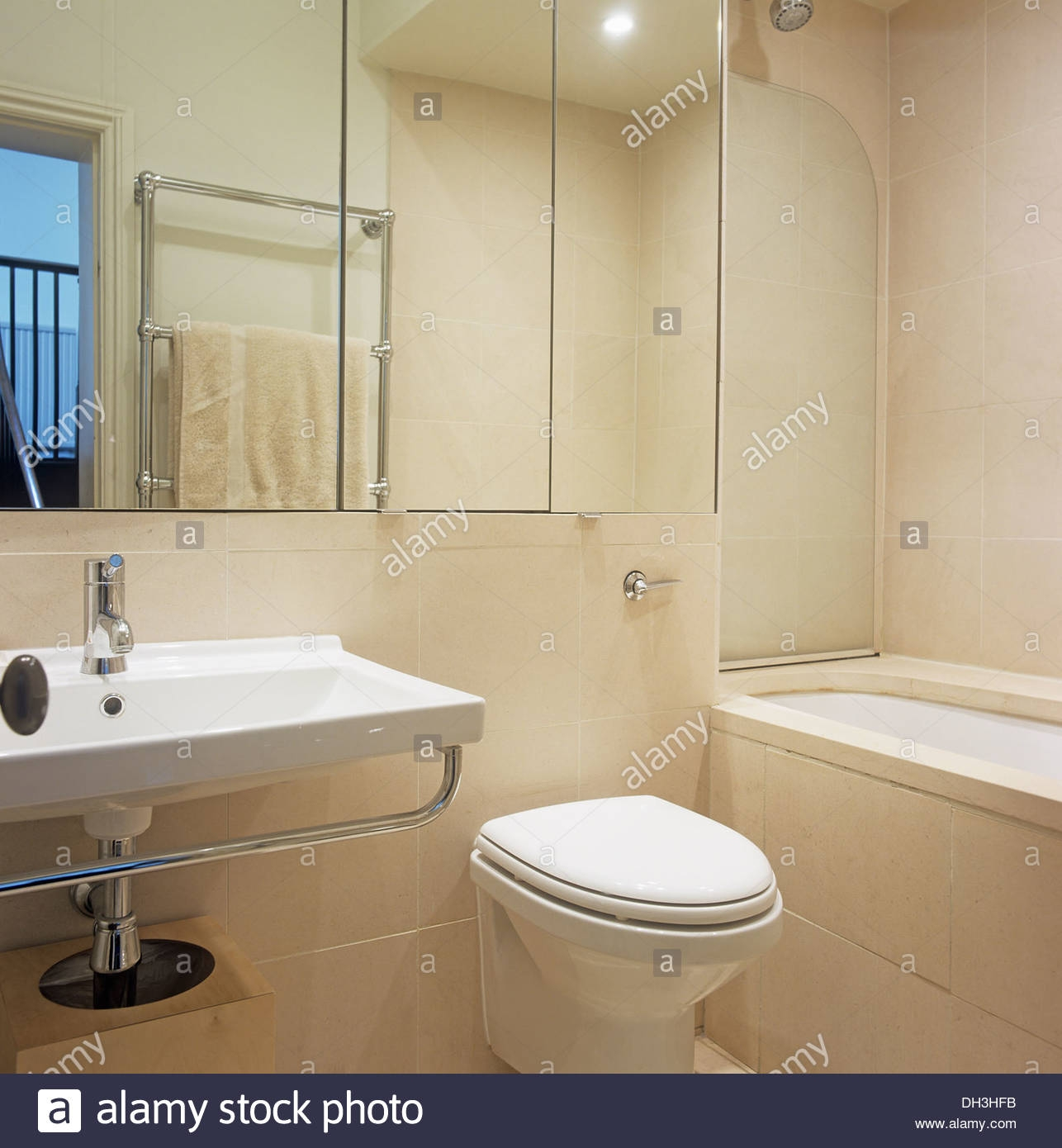 Bathroom Mirror Over Sink And Toilet