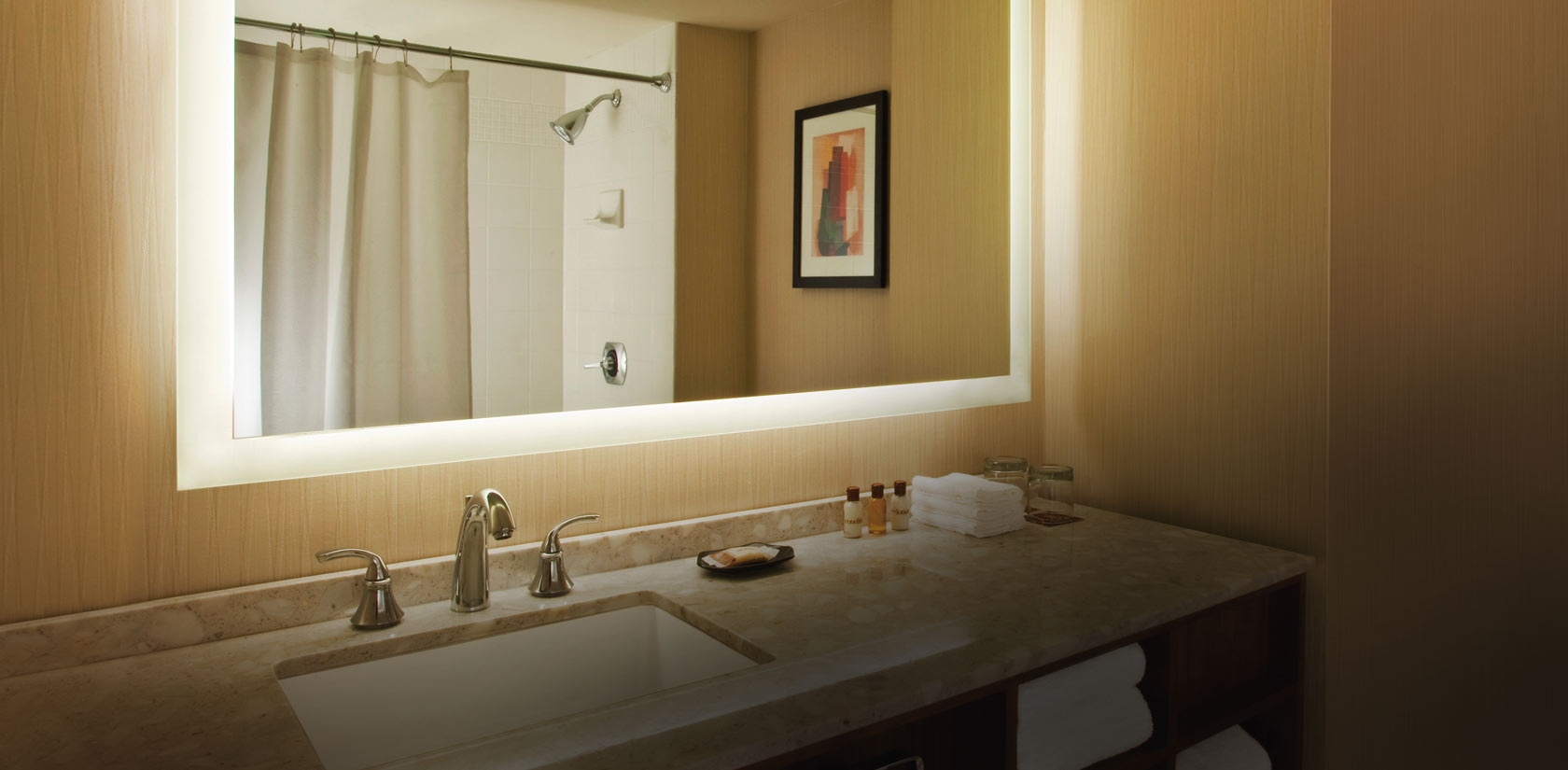 Bathroom Mirror With Lighted Frame1680 X 825