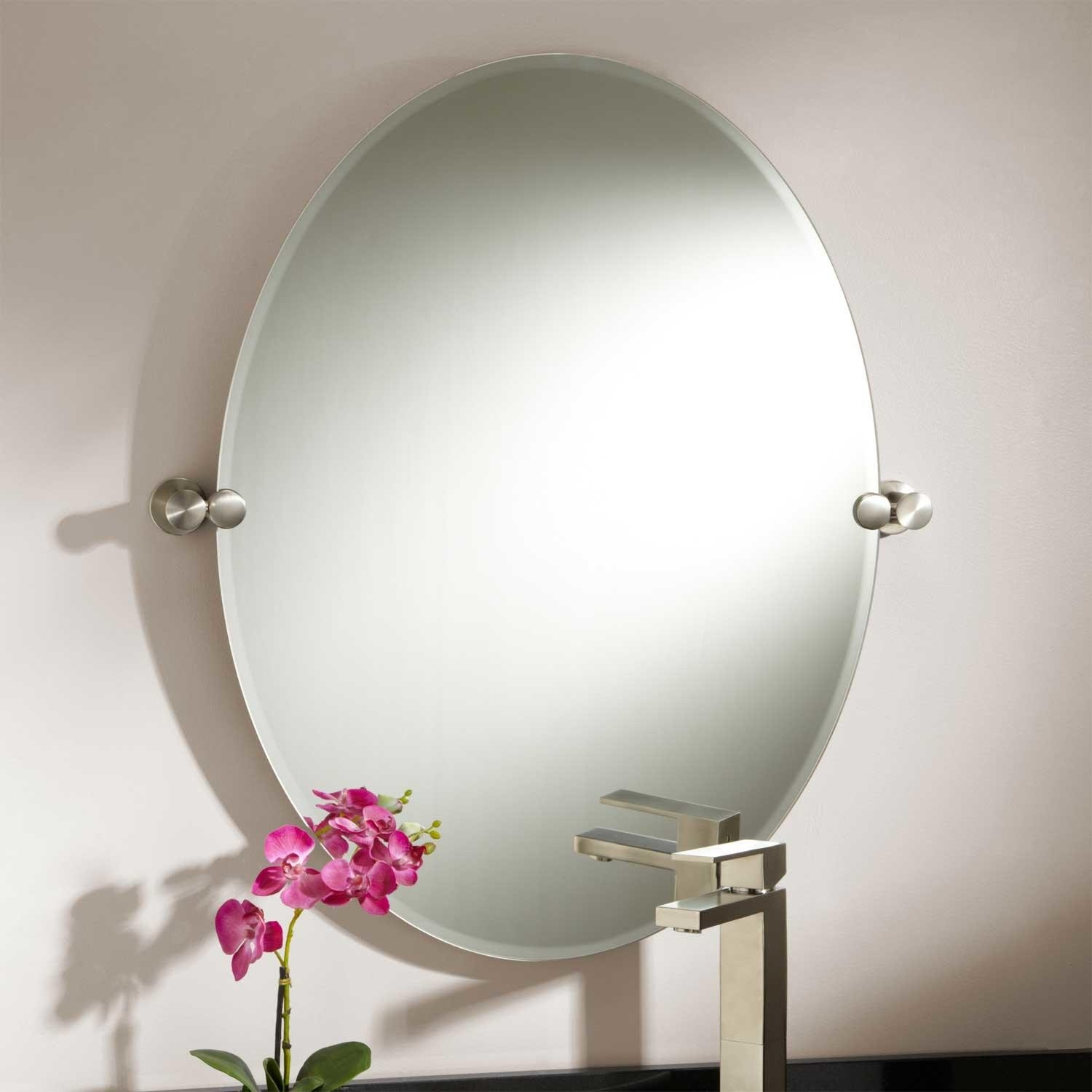 Bathroom Mirrors Oval Brushed Nickel