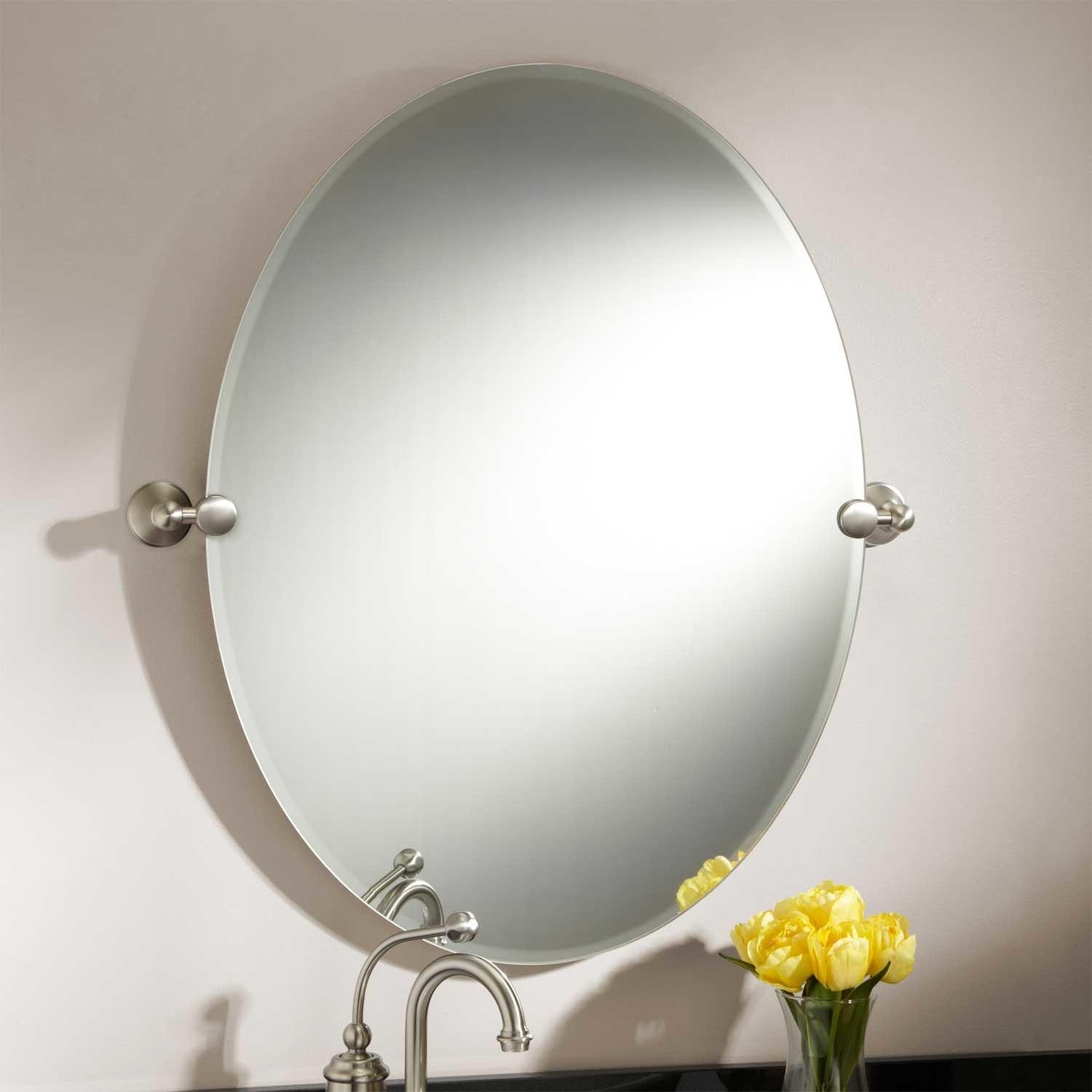 Bathroom Oval Mirror Brushed Nickel