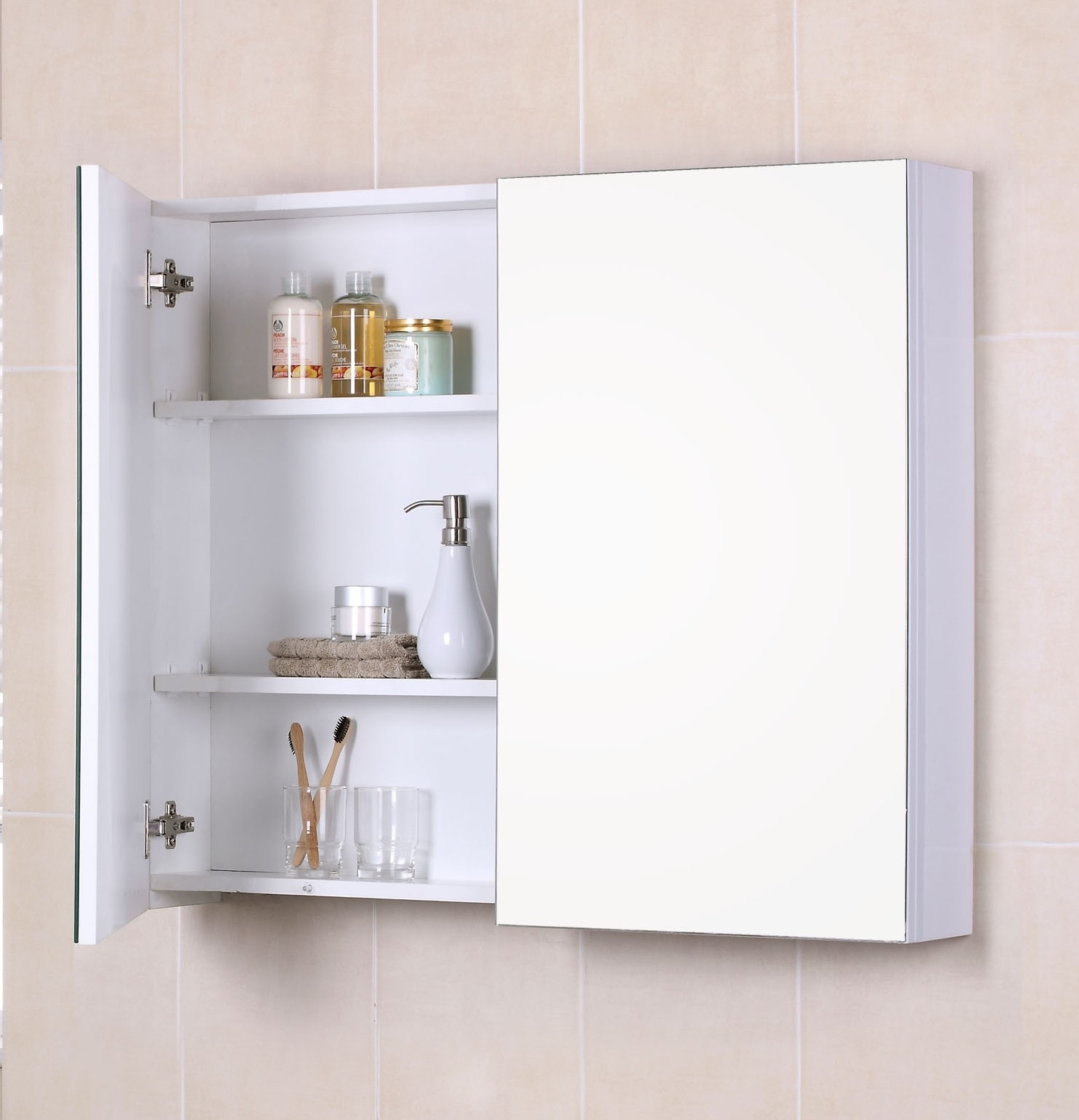 Bathroom Wall Cabinet With Mirrored Door And Shelves
