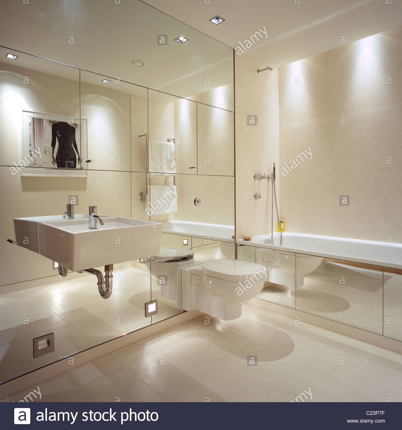 Bathroom With Mirrored Walls