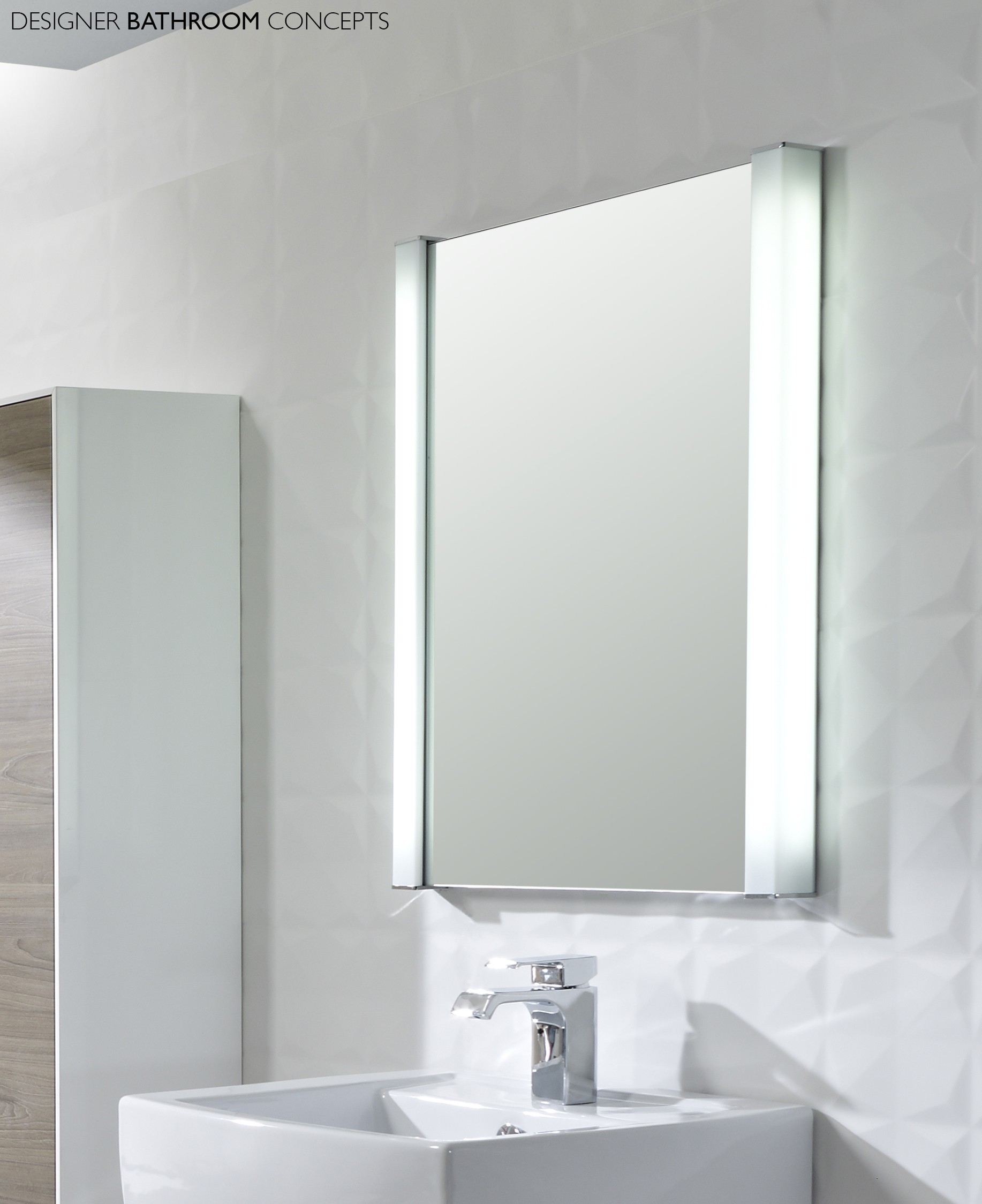Battery Led Illuminated Bathroom Mirror Cabinet