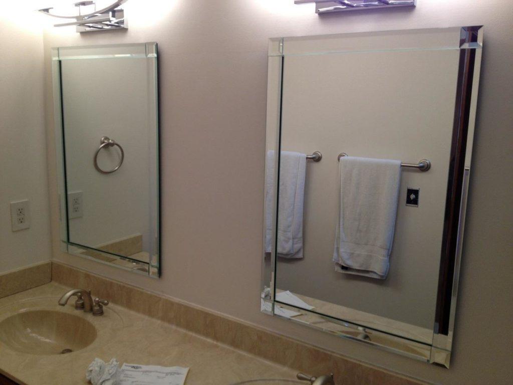 Beveled Framed Mirror Bathroom