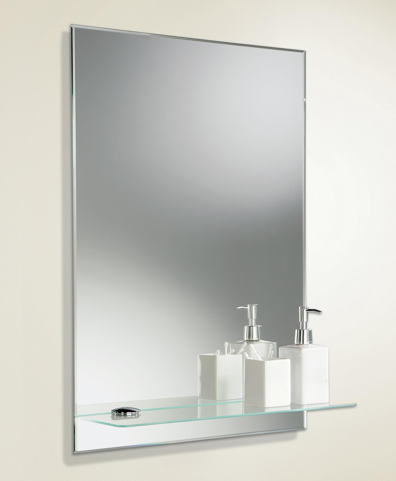 Bevelled Bathroom Mirror With Shelf