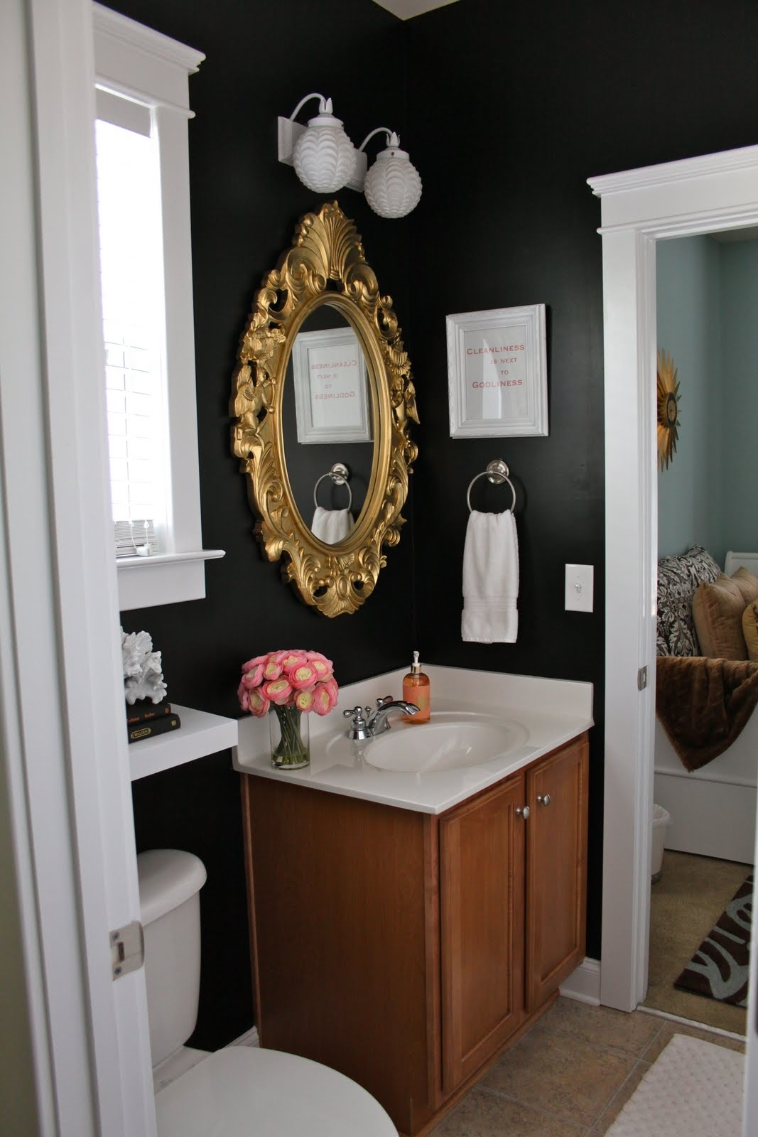 Black And Gold Bathroom Mirrors
