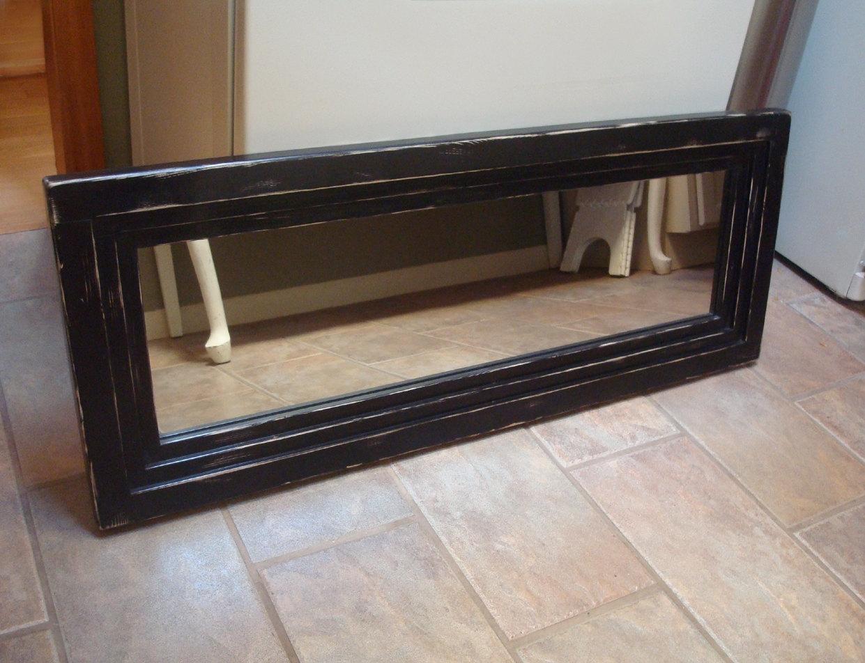 Black Distressed Wall Mirror