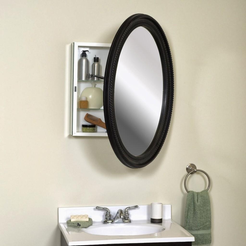 Black Framed Oval Bathroom Mirror