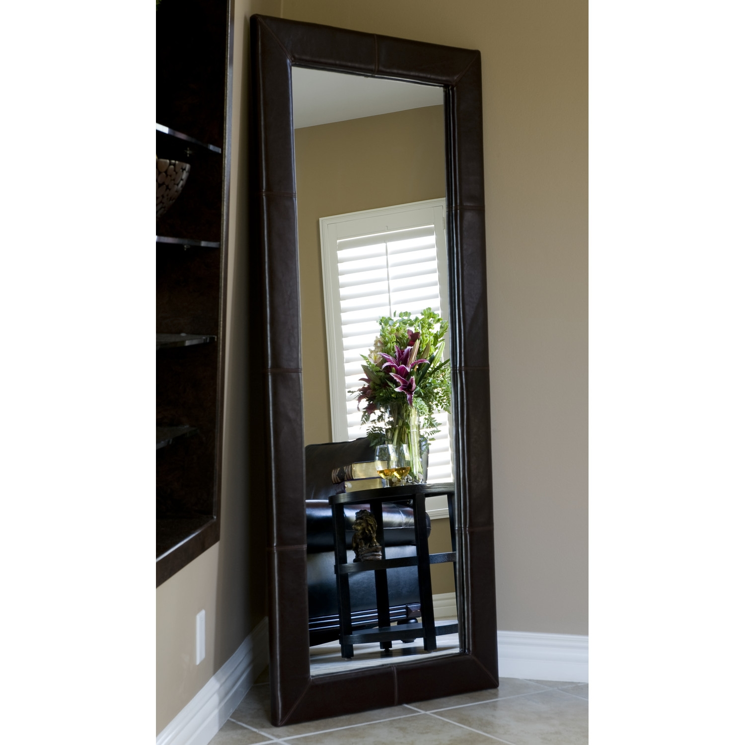 Black Leather Framed Wall Mirror