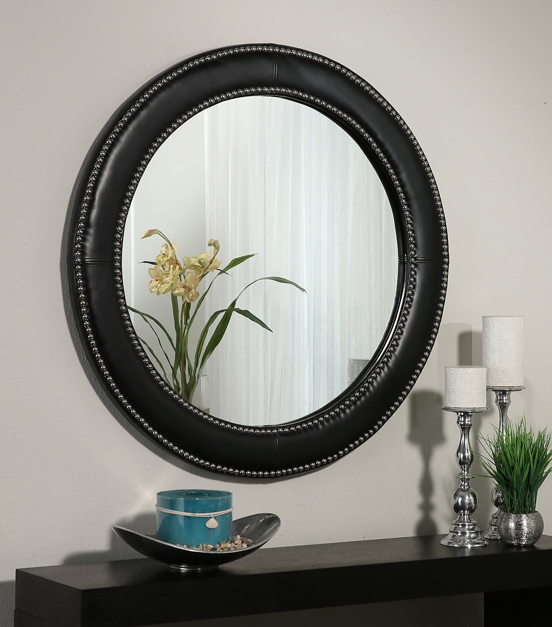 Black Leather Wall Mirror