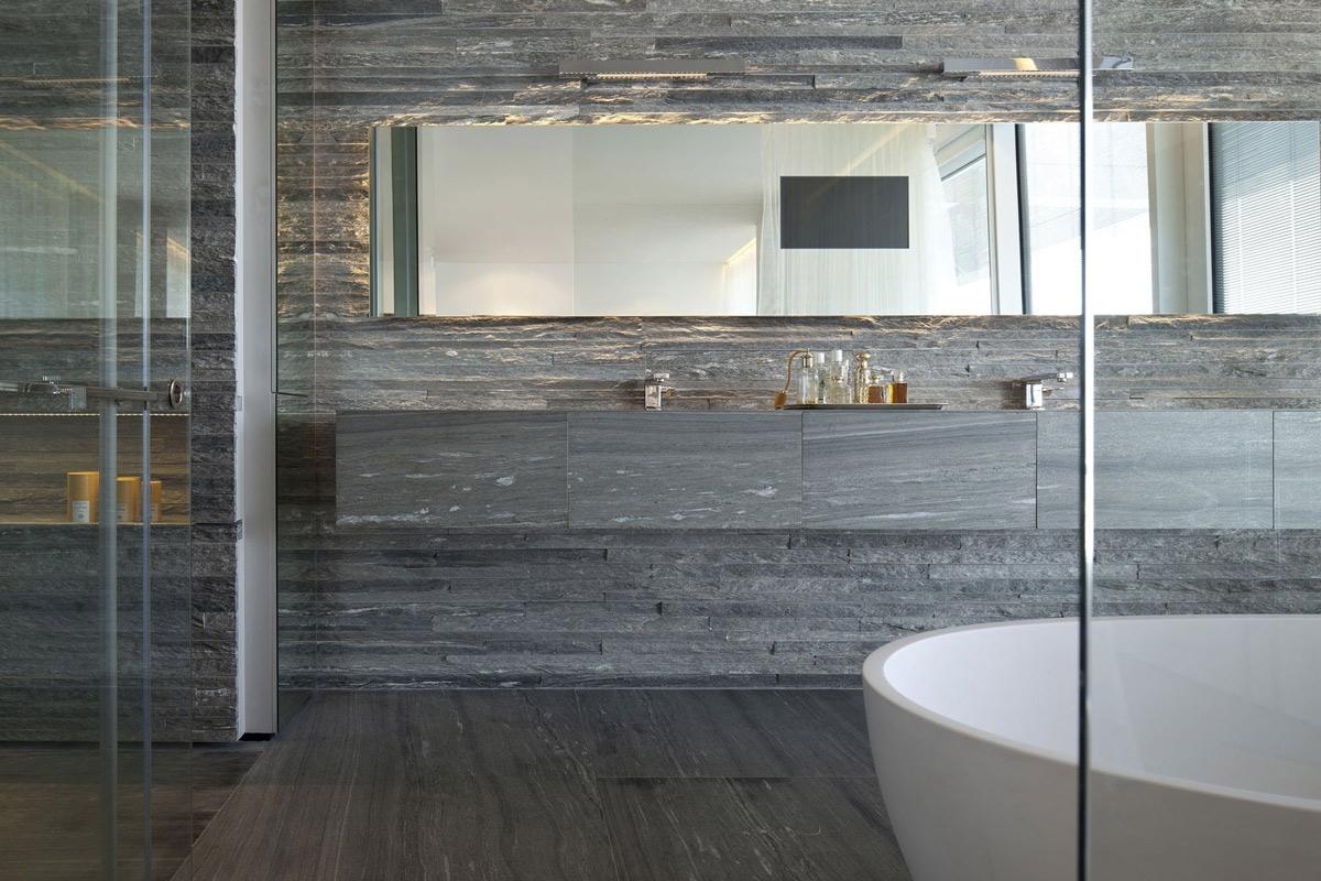 Black Mirror Tiles Bathroom
