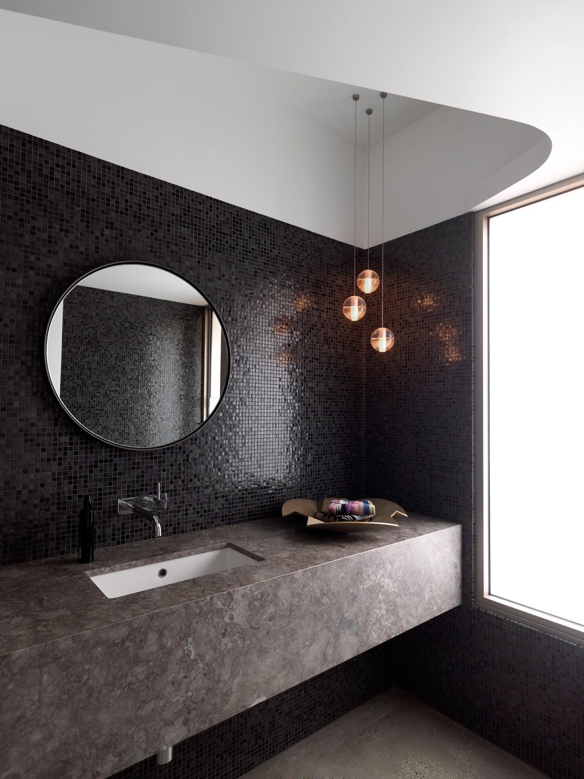 Black Mosaic Bathroom Mirrorsto da loos feature wall ideas for round mirrors
